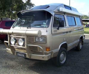 Syncro camper with a serious front grill guard