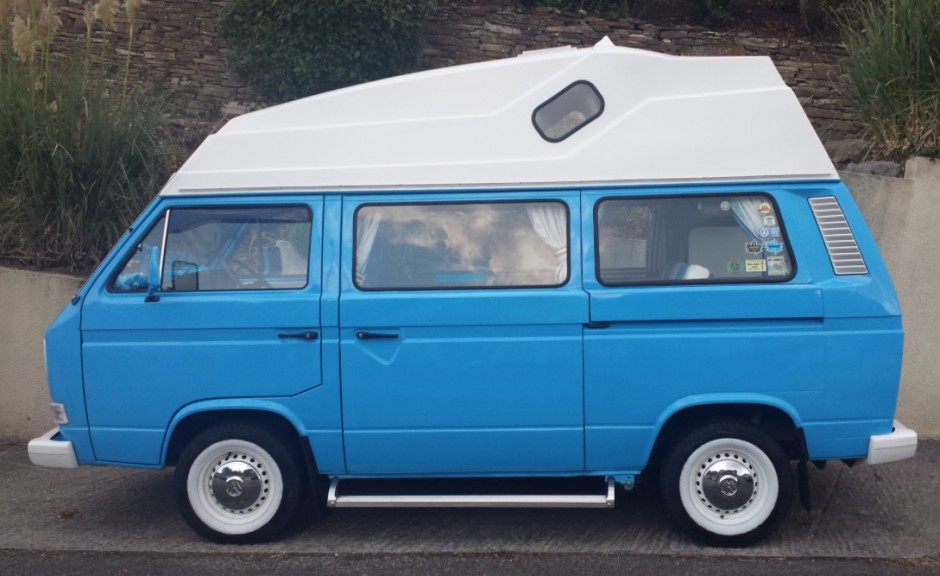 Baby Blue High Top With White Wheels And Bumpers Vanagon