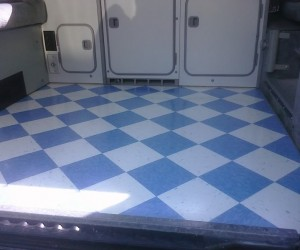 Checkered tile flooring for your Vanagon?