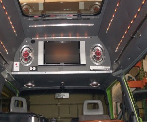 Custom Vanagon high top entertainment center