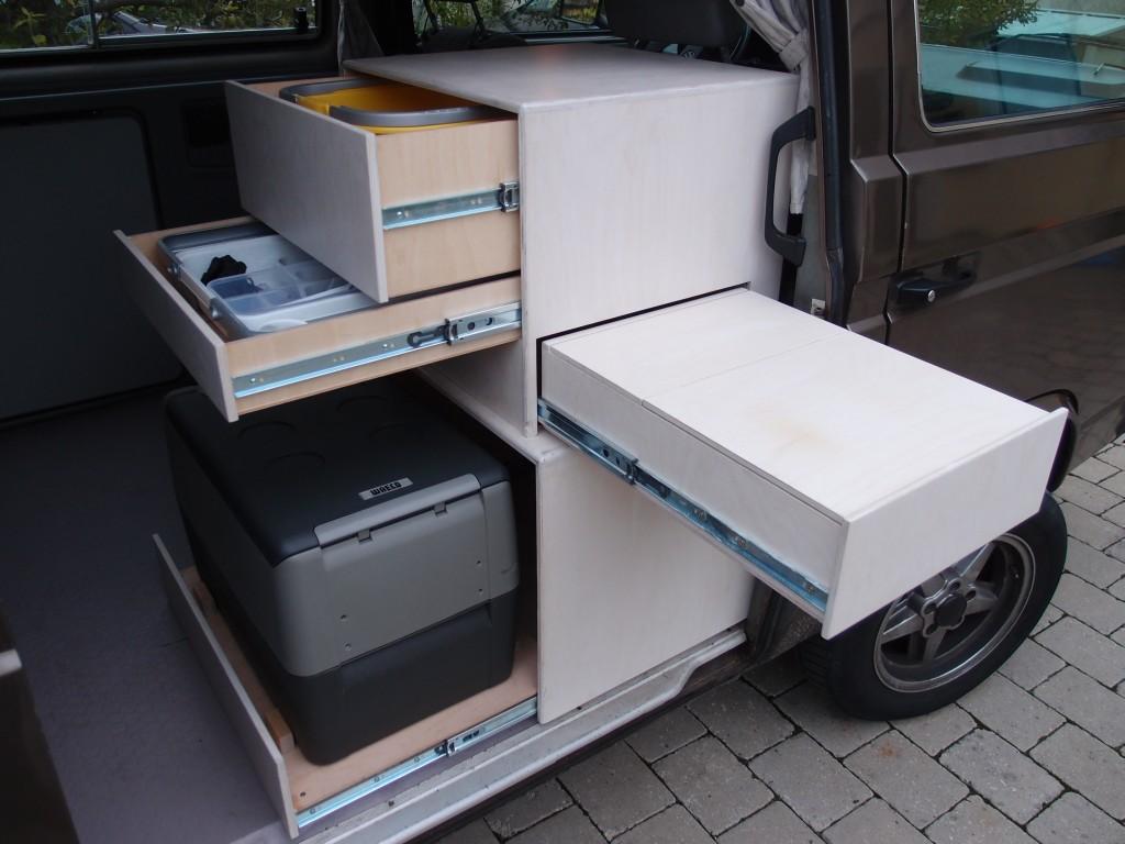 custom kitchen cabinet with drawers vanagon hacks mods. Black Bedroom Furniture Sets. Home Design Ideas