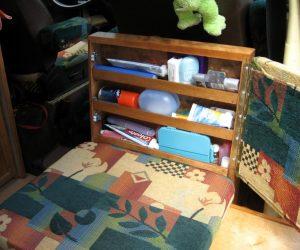 Custom rear seat with storage shelf