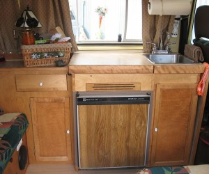 Custom Vanagon interior with three burner stove