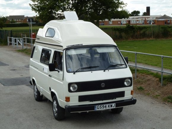 58490529454f5d This is a 1989 VW hightop camper van conversion done by Leisuredrive. This  one has a 1600cc Turbo Diesel engine   5 speed gearbox and a very tall  hightop.