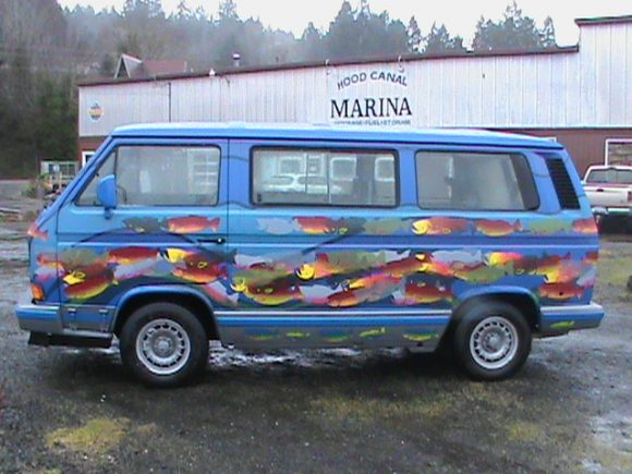 File This One Under Crazy Vanagon Paint Jobs 1990 Sits Outside The Hood Canal Marina With A Job Fit For Its Surroundings