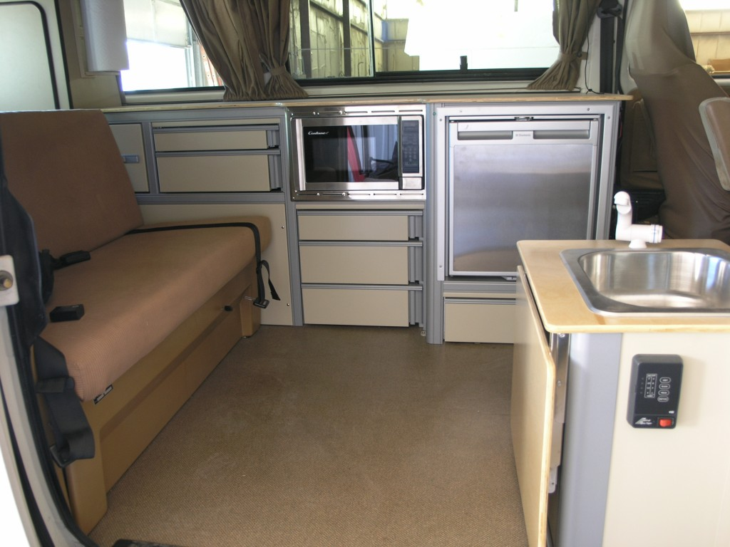 Custom cabinet drawers with microwave and trim kit for Interior westfalia