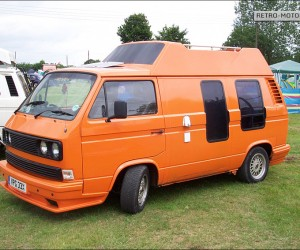 Orange VW T25 high top with sun roof
