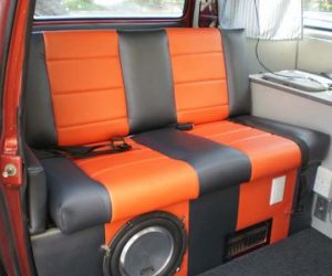 Custom orange and black upholstery