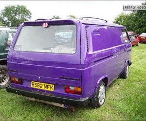 Purple Transporter with roof racks and spoiler