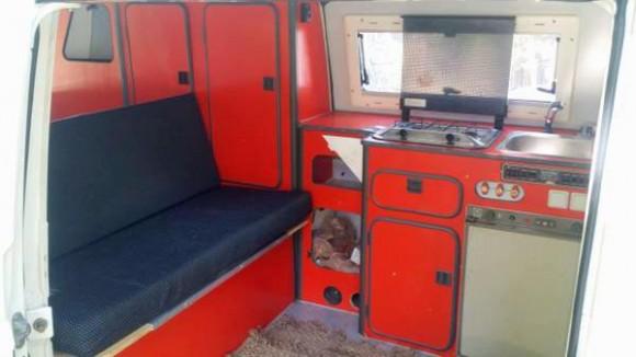 High top Vanagon with red cabinets   Vanagon Hacks & Mods