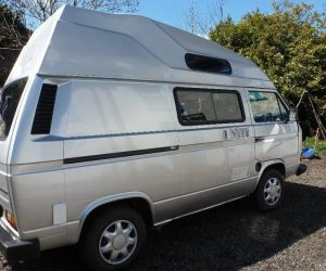 Rebuilt silver VW T25 4 berth camper
