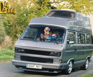 Steel gray VW T25 camper