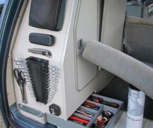 Rear cabinet tool organizer mod