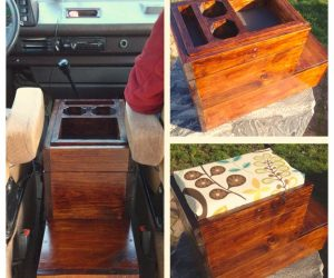 Custom center console made from scrap wood