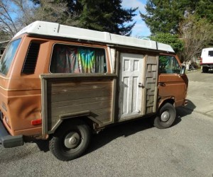 Vanagon with homemade wooden side door